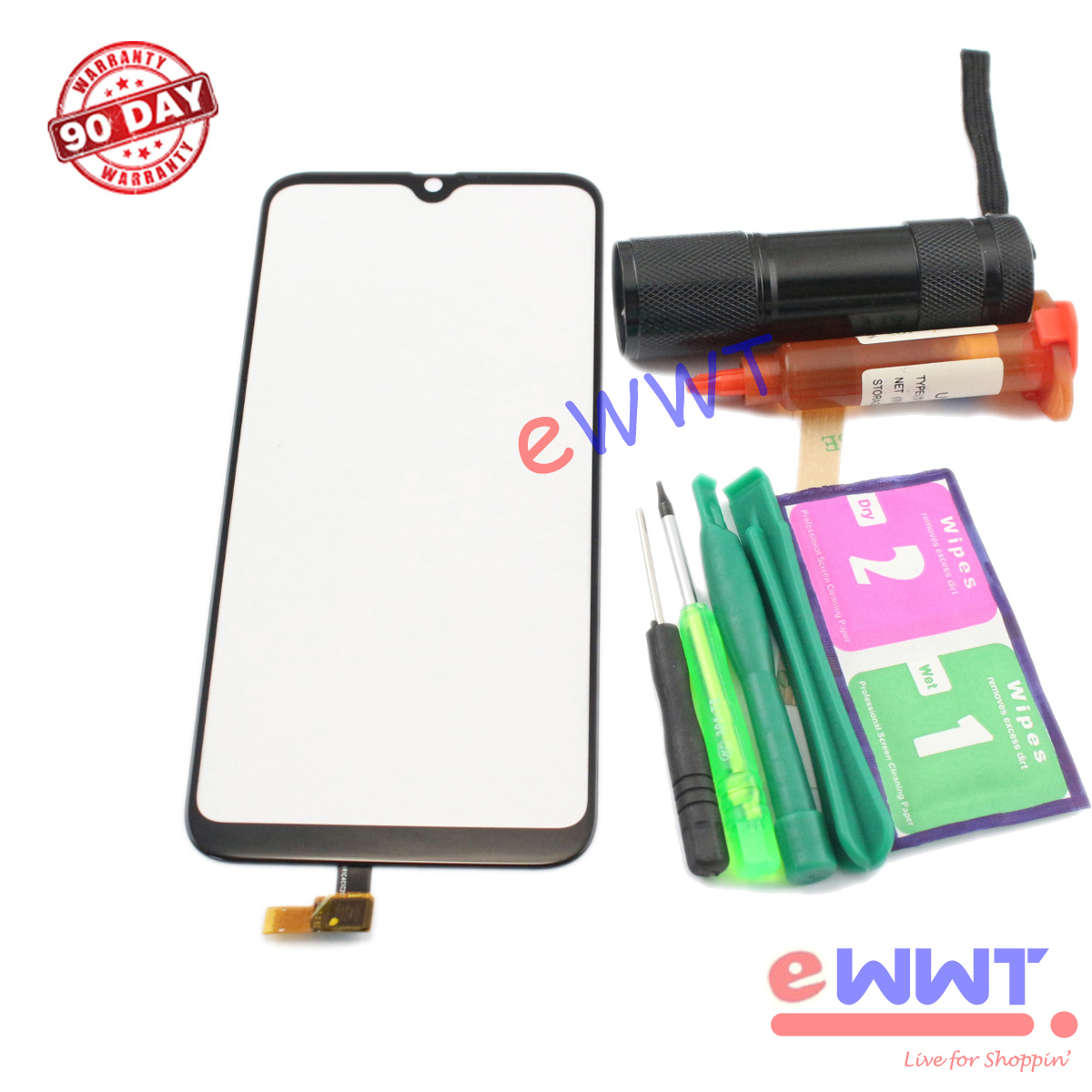 """Replacement Black Touch Screen Glass + Glue for Cubot R15 Dual Sim 6.26"""" TJLU914"""