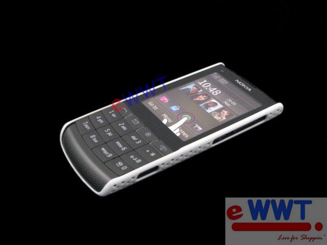 for Nokia X3 02 White Mesh Net Cover Hard Case+LCD Film