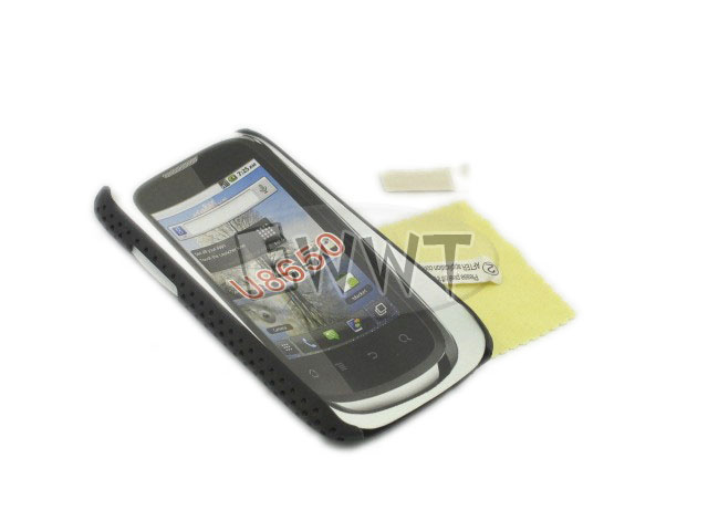 FREE-SHIP-for-Huawei-Sonic-U8650-Black-Mesh-Net-Back-Hard-Case-LCD-Film-ZVCC874