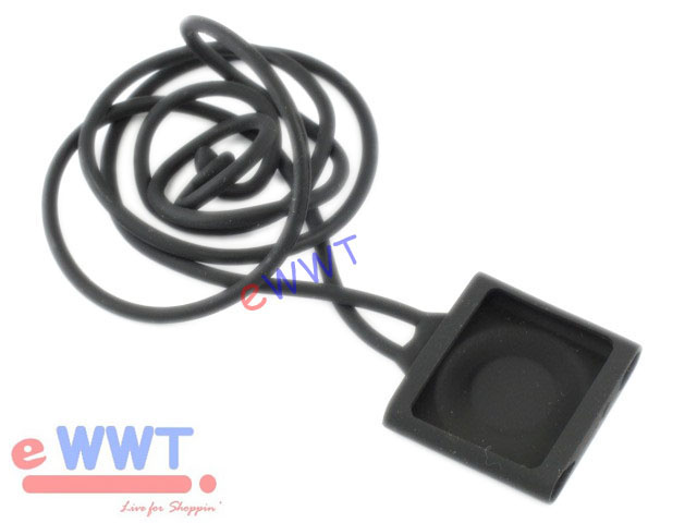 Black-Lanyard-Style-Silicone-Soft-Cover-Case-for-iPod-Shuffle-4th-Gen-4-ZVSF417