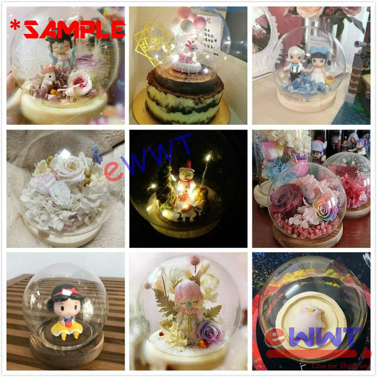 12cm Dia. Ball Globe Dome Flower Model Display Glass Case + Wooden Base LQOU091